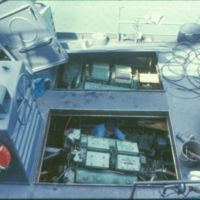 A Swift Boat with the Engine Covers Removed